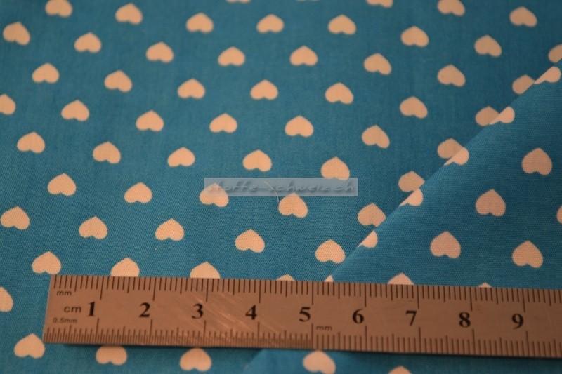 Baumwolle Stoff kleine Herzen 1,40 m breit