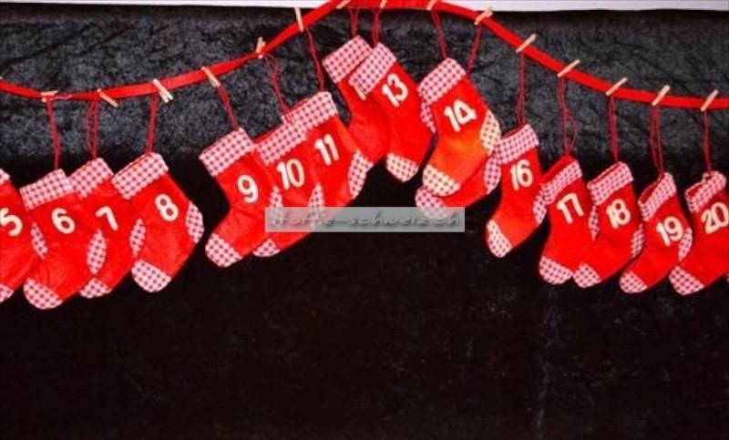 Adventskalender Socken ohne Füllung für Kinder