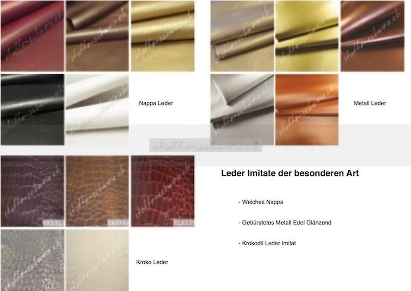 Musterkarte Farbkarte Nappa & Kroko & Metall